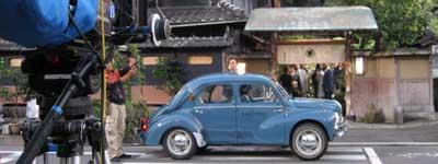 日野ルノー(2007年10月11日、尾道市久保三丁目・竹村家前でのロケ風景)