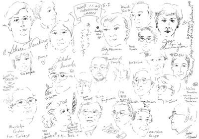 Keiko Tanaka氏作画による参加者と関係者の似顔絵