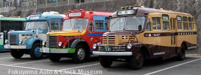 1月23日、鞆鉄道鞆車庫でのボンネットバス3台並び【クリックで掲載記事へリンク】