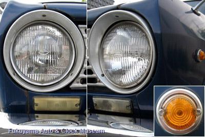 ダットサン サニー1000デラックス(初代B10前期型2ドアセダン,1966年式)のヘッドライトとフロントマーカーランプおよびサイドマーカーランプ(右下)