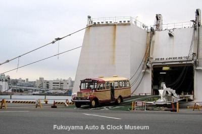 第7回大阪モーターショーに出展のためフェリーで別府から大阪南港に到着した豊後高田市のボンネットバス・いすゞBX141 1月19日撮影【クリックで大きく表示】