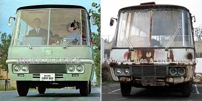カタログ表紙写真(低速貨物様所蔵・提供)と廃車体のマツダ ライトバスAEVA(C) 2012.2.24撮影【クリックで大きく表示】