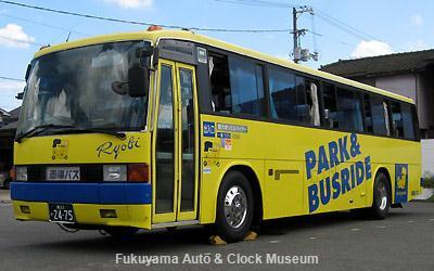 西大寺シビルライナーで活躍した両備バスの三菱ふそうエアロバスSD(P-MS725N,1986年式,社番9366) 当館バス駐車場において