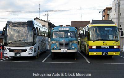 白昼夢的バス3台並び 中国バス福山営業所において