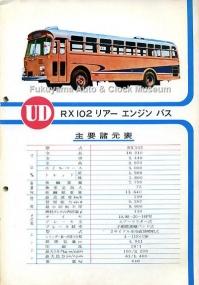 当館所蔵『RX,4R シャシー パーツ・カタログ』所収 RX102リアーエンジンバス主要諸元表(編集・発行 日産ディーゼル販売,1965年5月)【クリックで大きく表示】