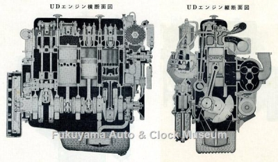UD3型エンジン断面図 『UDエンジン テキスト ブック』(日産ディーゼル販売,1961年再版)の巻頭に所収【クリックで大きく表示】