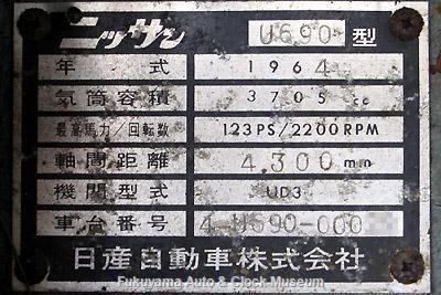 元中鉄バスのニッサンU690(1964年式,富士重工業)廃車体 日産自動車のプレート