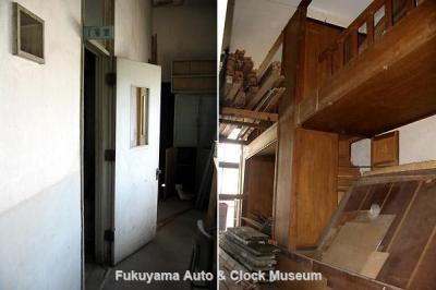 11月19日をもって廃止された鞆鉄道松永営業所の旧共同宿舎2階1号室 (左)入口と(右)同室南列の2段ベッド 11月19日撮影【クリックで大きく表示】
