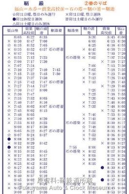 昭和43年7月21日改正 鞆鉄バス時刻表に記載の鞆線運行時刻(朝の通勤・通学時間帯部分)【クリックで大きく表示】