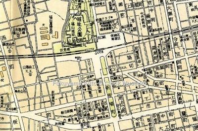 福山市中心街地図(1/9000,昭和36年3月1日 塔文社発行,当館関係者所蔵)より部分抜粋【クリックで大きく表示】