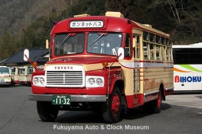 高梁市のボンネットバス・トヨタDB100(1967年式,呉羽自動車工業,2008年当館再生・2011年譲渡) 3月2日、備北バス 川上バスセンターにおいて【クリックで大きく表示】