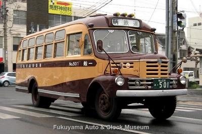 鞆鉄道のボンネットバス・いすゞBX341(1958年式,新日国工業) 3月20日撮影、野上町内走行風景【クリックで大きく表示】
