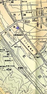 福山市街図(1/13500,昭和41年2月 塔文社発行,当館関係者所蔵)より部分抜粋【クリックで大きく表示】