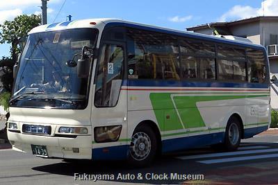 中国タクシーの三菱ふそうU-MM826HエアロバスMM(1994年式,三菱自動車バス製造,福山22く1439)
