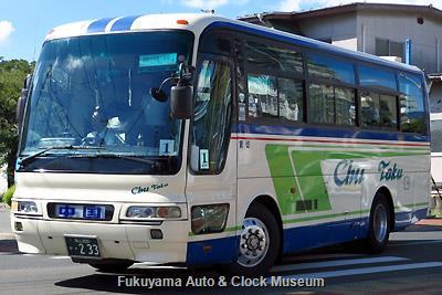 中国タクシーの三菱ふそうKC-MM822HエアロバスMM(1999年式,三菱自動車バス製造,福山200か233)