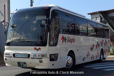 メイプル交通の三菱ふそうKL-MS86MPエアロバス(2001年式,三菱自動車バス製造,広島200か558)