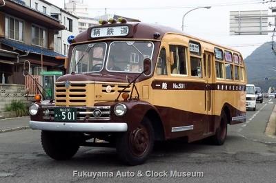 """""""ひな飾りボンネットバス"""" 鞆鉄道のいすゞBX341 (1958年式,新日国工業)【クリックで大きく表示】"""