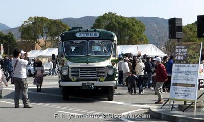 第12回「昭和の町」レトロカー大集合へ出展された大宝自動車のボンネットバス・いすゞBXD30