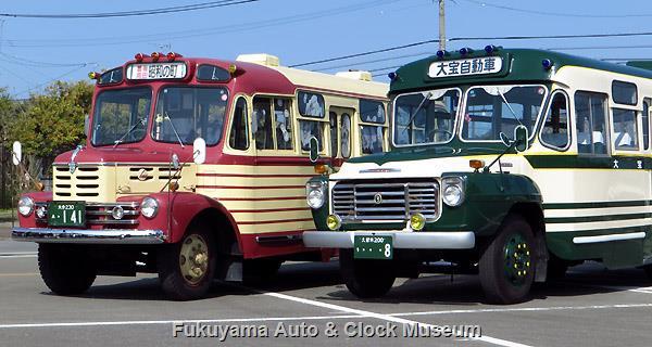 いすゞのボンネットバス並び 豊後高田市のいすゞBX141・大宝自動車のいすゞBXD30