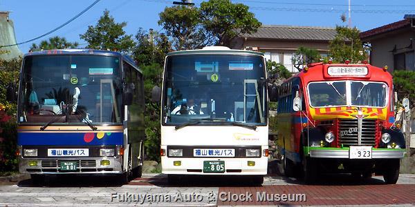 福山観光バス 福山230う801 日野U-CH3HFAA レインボー7M・福山230い805 日野U-RR2HJBA レインボーRRとボンネットバス・日野BA14
