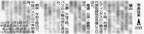 2016年12月23日付け中国新聞備後本社版福山面(24面)掲載 12月22日の各市長往来