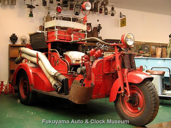 四日市市消防団常磐分団で使用されていた三輪消防ポンプ車(日本消防機製造,昭和12年式)