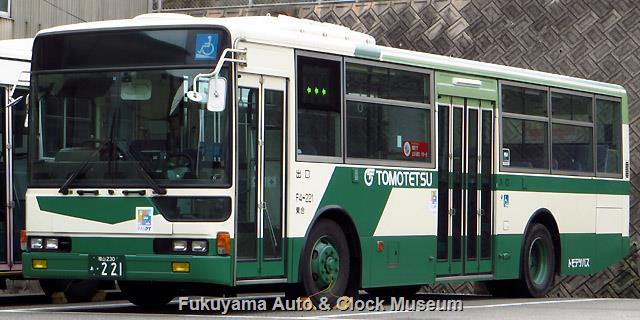 ばらバスラッピング前の鞆鉄道F4-221 福山230あ221 三菱KL-MP33JM エアロスター ワンステップ