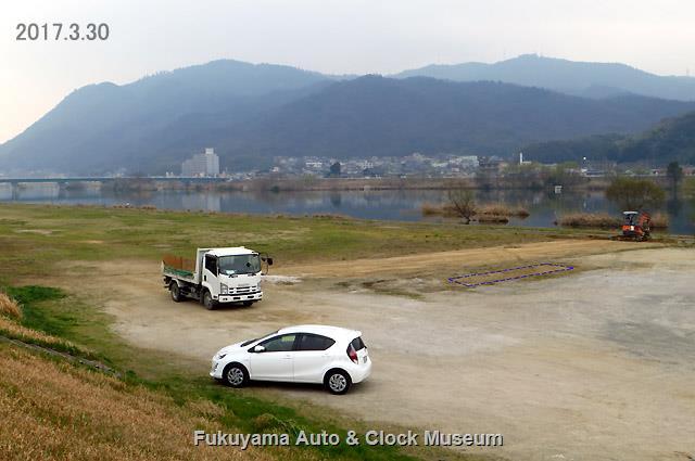 芦田川左岸の河川敷にあったゴルフ練習場の撤去工事完了状況 2017年3月30日撮影