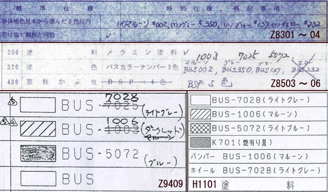 井笠鉄道向け車両製作仕様書に記載の外装色番号記述箇所抜粋集