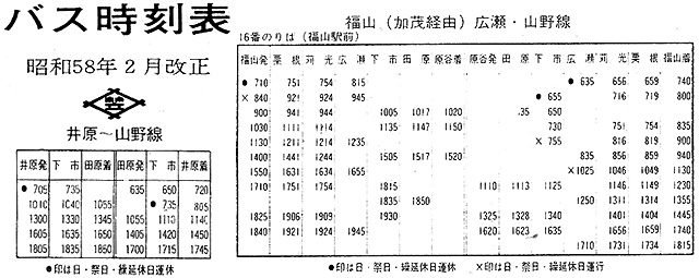 『井笠鉄道 昭和58年2月改正 バス時刻表』より関係部分抜粋