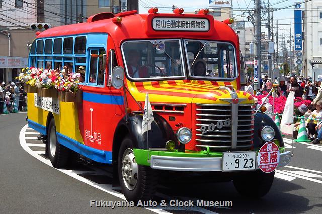 福山ばら祭 ローズパレード2018へ出場したボンネットバス・日野BA14