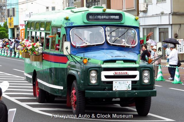 福山ばら祭 ローズパレード2019へ出場したボンネットバス・ニッサンU690