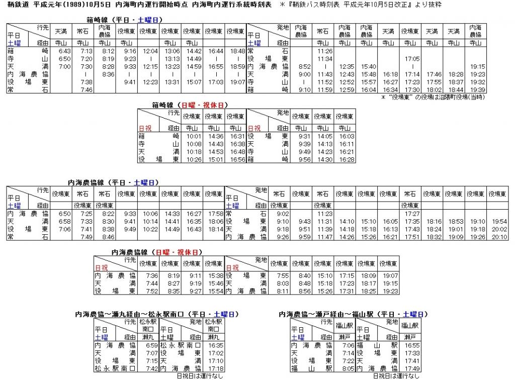 鞆鉄道 平成元年10月5日 内海町内運行開始時点 内海町内運行系統時刻表