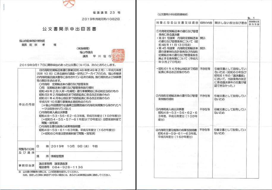 2019年10月2日付け福議議第23号 公文書開示申出回答書