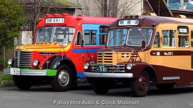 鞆鉄道のいすゞBX341と当館の日野BA14 2019年3月30日