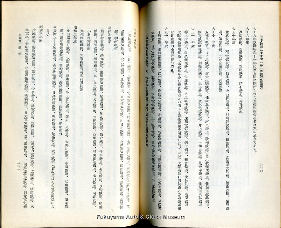 大正9年〜昭和11年に省線との連帯運輸を開廃された事業者名『日本陸運二十年史 第一巻』p.330-331