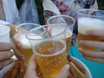 西武園花火大会鑑賞ビールで乾杯