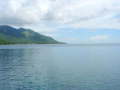 この岬の先がジンベイザメの道です