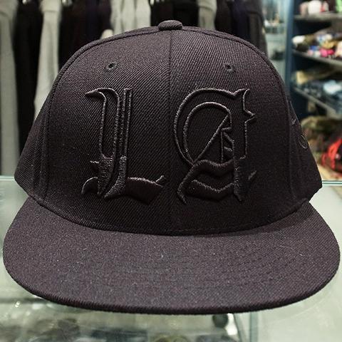 "015239918d9 40oz NYC x Rhude Snapback Cap ""LA""   Black x Black 6"