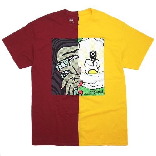 "b95a159dd520 Blood s Thicker x ByKiy Split T-shirts ""Summertime Shootout""   Burgundy x  Yellow 8"
