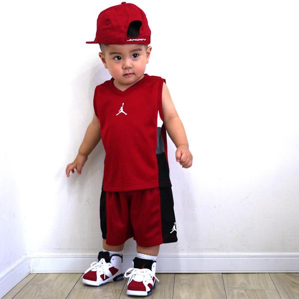 ケイトくん (1歳8ヶ月) 【上下セット】ジャッンプマンノースリーブ上下セットアップ (ジョーダン) 【帽子】ジャンプマンスナップバックキャップ ( ジョーダン)