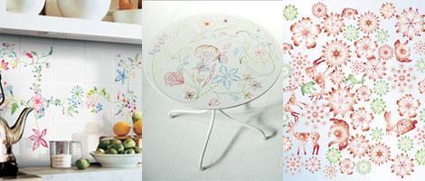 花柄のキッチンタイルとテキスタイル
