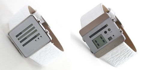 ブラックレザーも有るヌーカデジタル時計