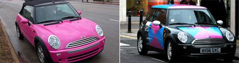 BMW MINI Cooperのピンク色