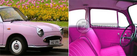 日産フィガロのピンク色