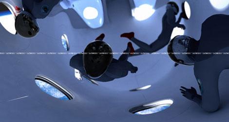 無重力な宇宙船内部