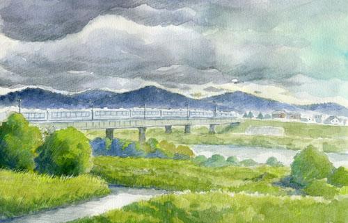 スケッチ「九頭竜川」