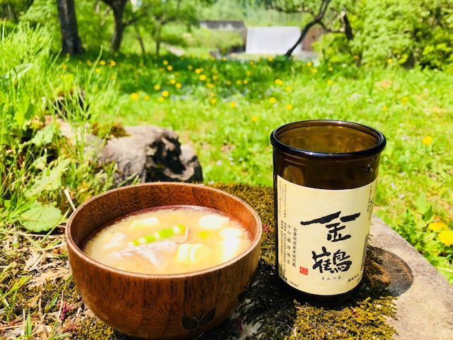 金鶴と竹の子の味噌汁