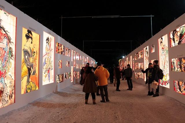 弘前城雪灯籠まつり2016ねぷた絵回廊