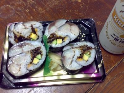 色々鯖寿司とビア